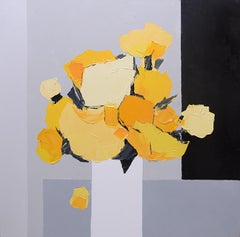 """Light"" (""Lumière""), yellow bouquet on greyscale background squared oil painting"