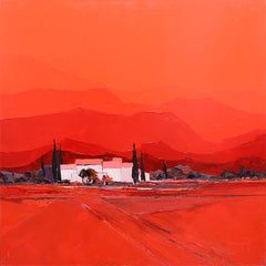 """Summer Heat"" (""Chaleur d'été""), Red Lanscape Squared Oil Painting"