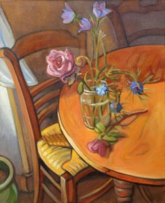 """The Rose Bowl"" (""Le bocal à la rose""), still life interior oil painting"