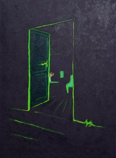 """Inside"", Oil Painting, Green Open Door with Red Bouquet on Dark Background"