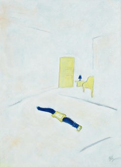 """""""Futures"""", Oil Painting, Blue and Yellow Watch and Furniture on White Background"""