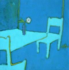 "In Thought (""En pensée""), Blue and Cyan Interior Painting with Lone White Flower"