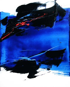 Dark and Blue with Red Touch on White Background Abstract Oil Painting, Untitled