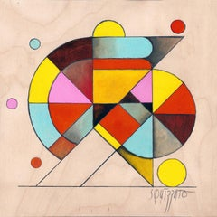 Gymno #2, Small Colorful Geometrical Abstraction, Acrylic on Birch Wood