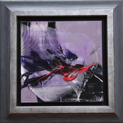 Dark Moves and Red Spurt on Mauve Background Abstract Oil Painting, Untitled
