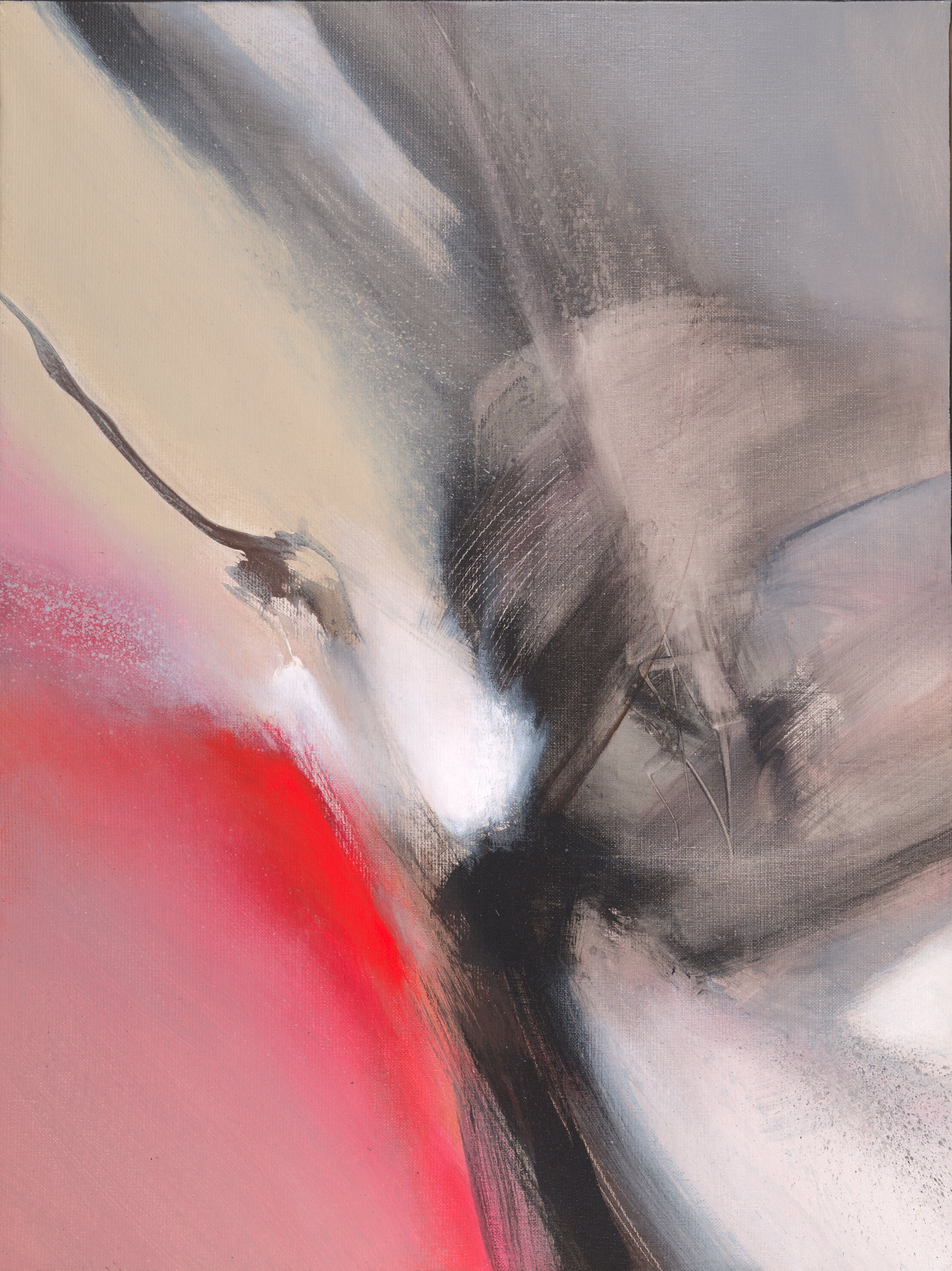 Red Beige Black and White Lyrical Abstract Acrylic Painting