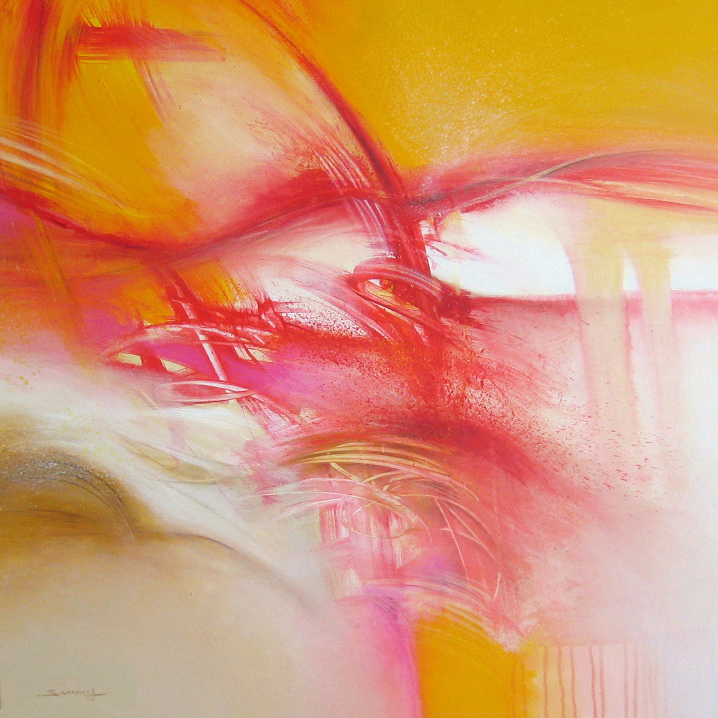 """""""Landscape in Movement"""" Golden Red Rose Abstract painting"""