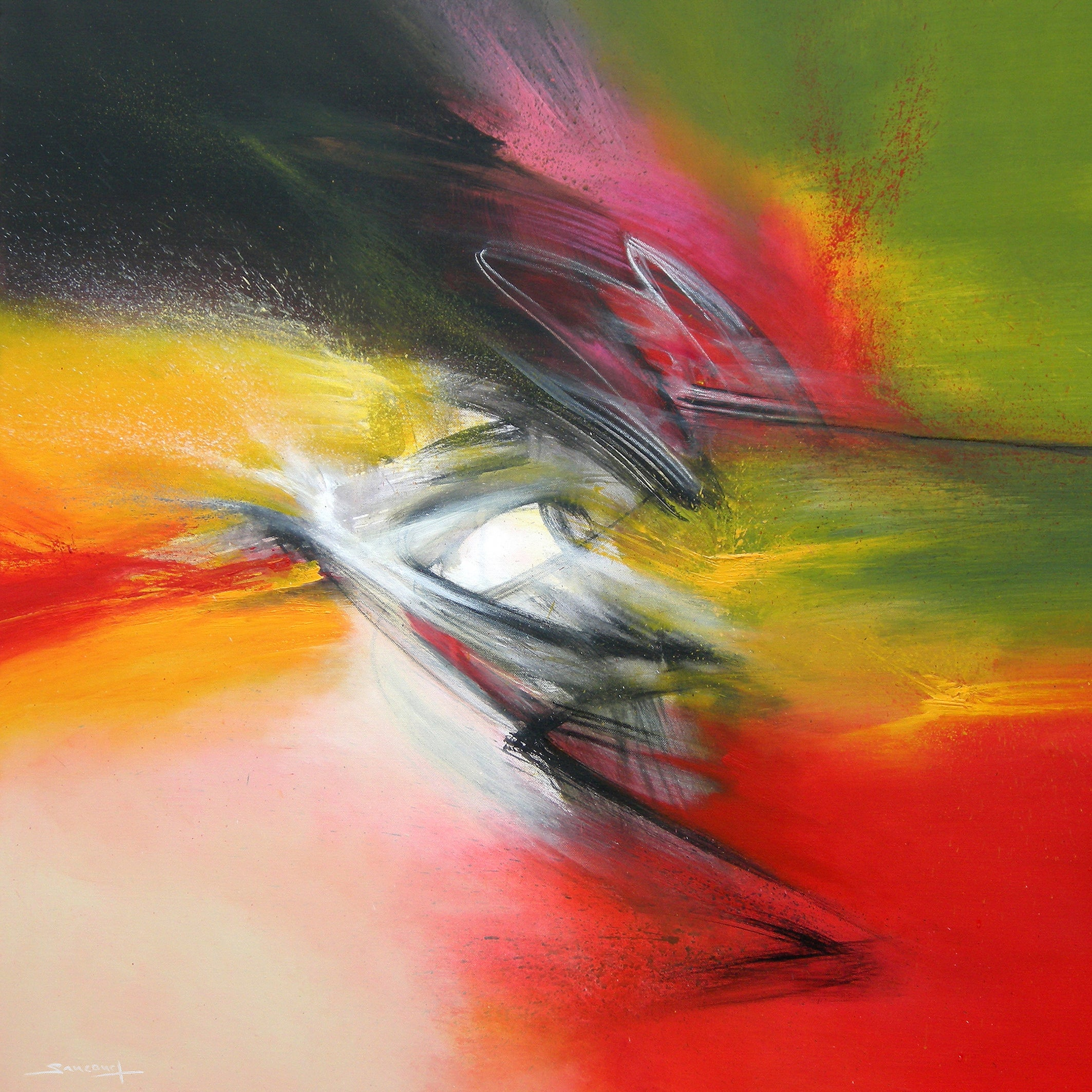 """""""Flamboyant"""" Yellow Green Rose Red and Black Abstract Painting"""