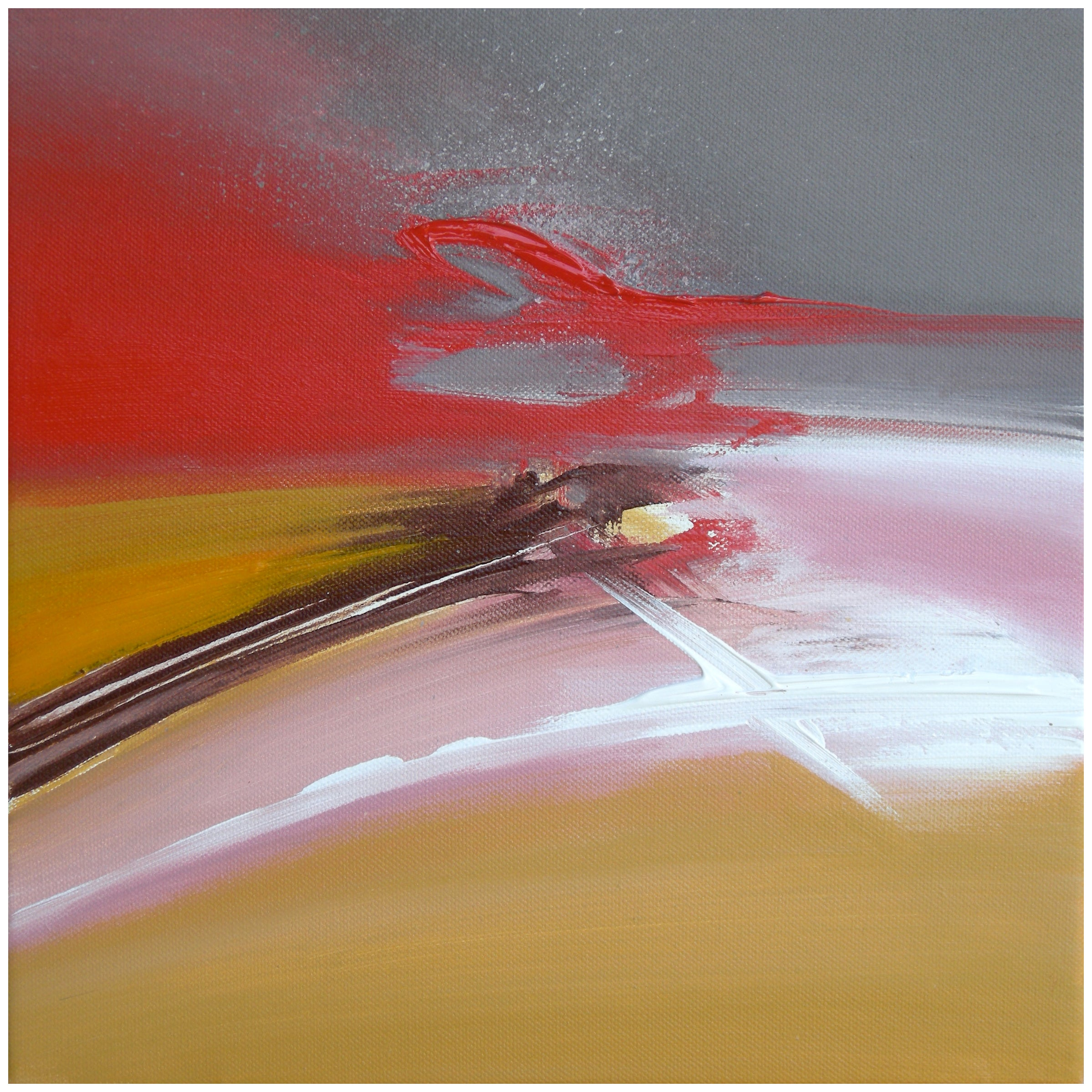 """""""At Full Speed"""" Red Grey Rose and Golden Abstract Painting"""