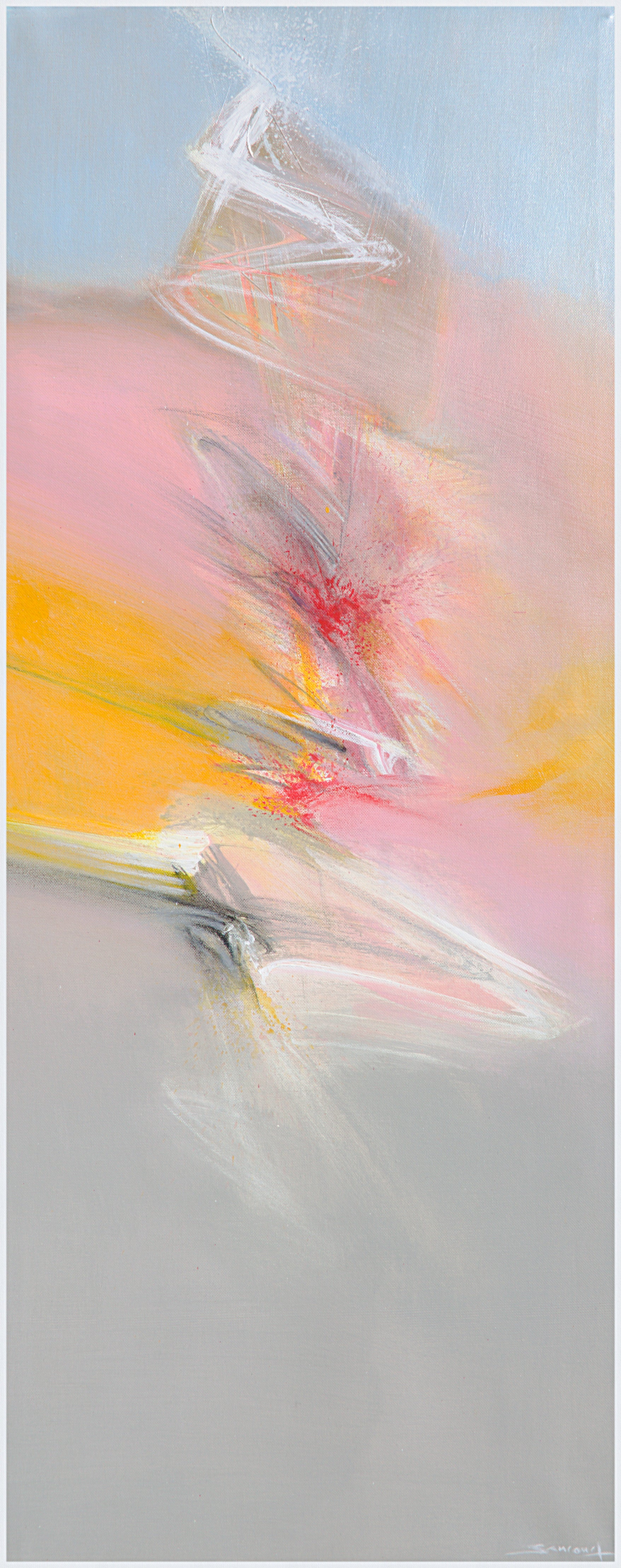 """""""Aerial"""", Vertical Multicolor Abstract Acrylic Painting"""