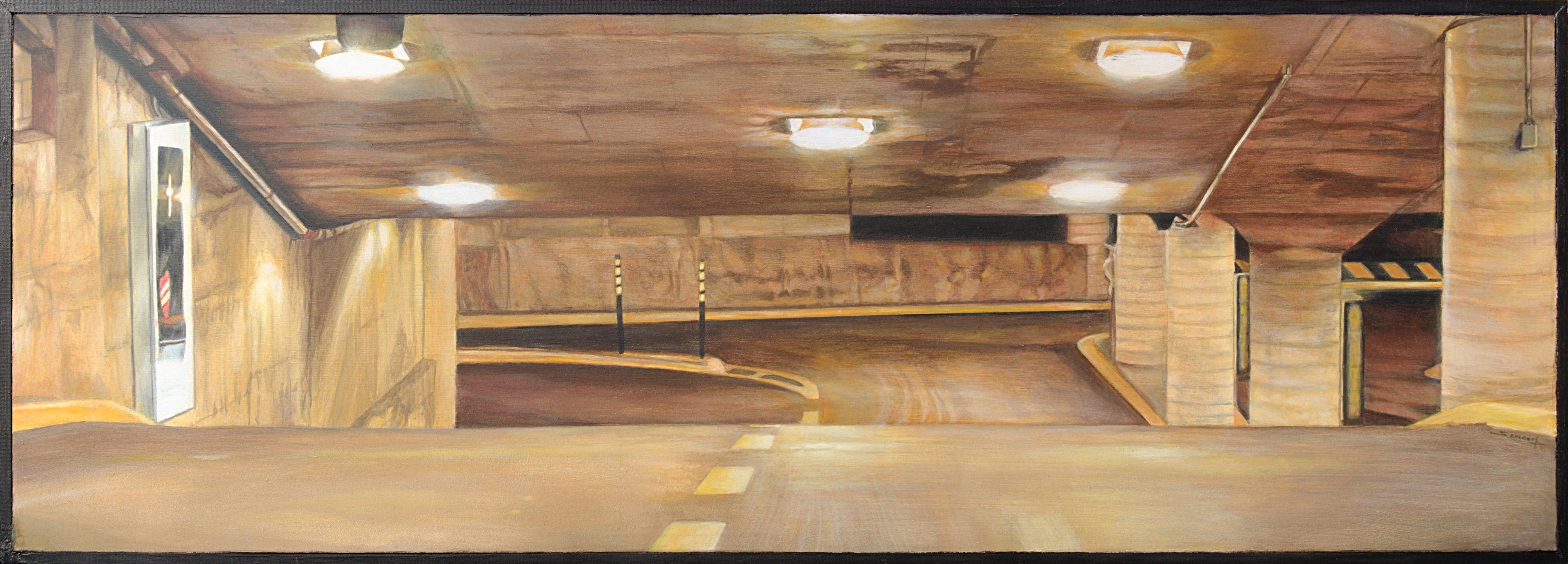 """The Cave"", Underground Parking Horizontal Urban Landscape Acrylic Painting"