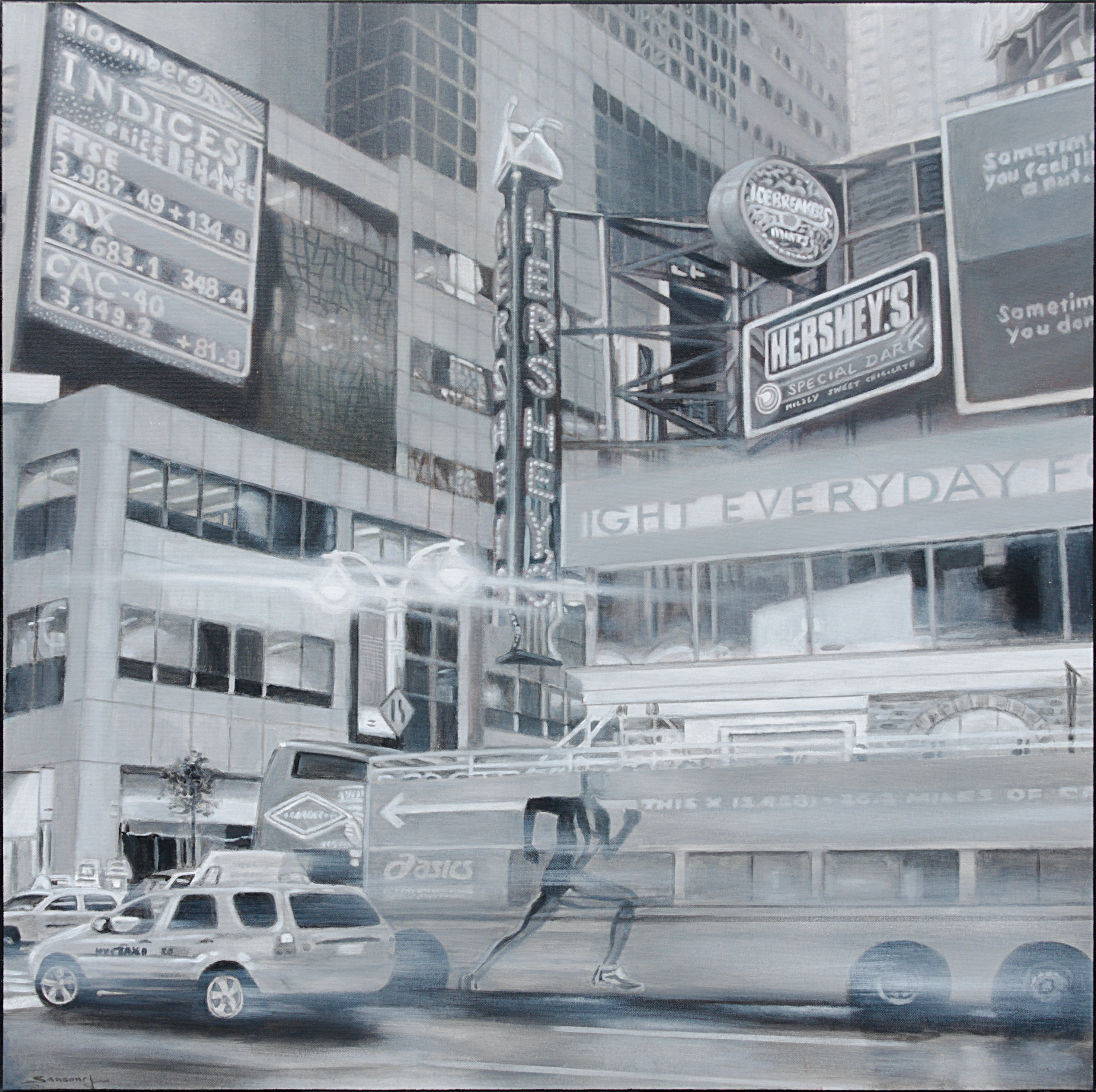 """""""City Lights"""", Black and White View of Times Square Acrylic Painting"""