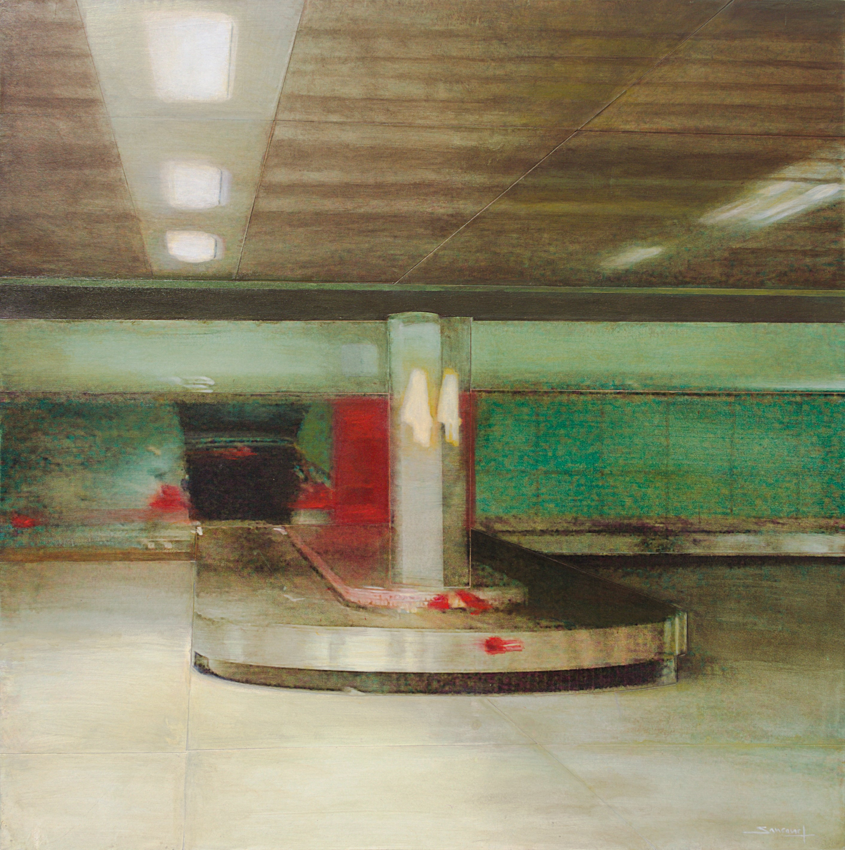 """Conveyor N° 4 #2"", Airport Luggage Belt Green and Red Mixed Media Painting"