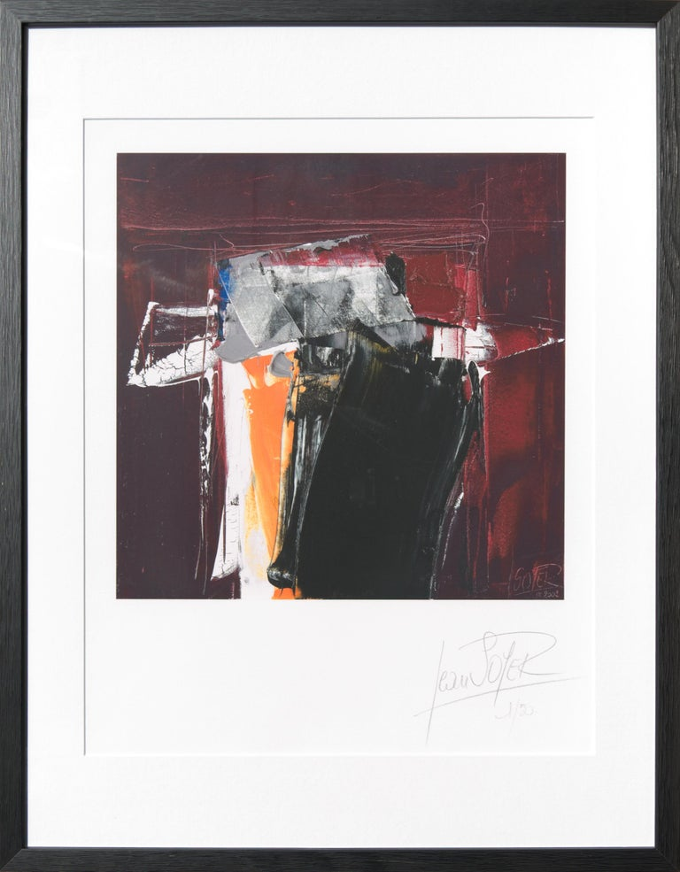Jean Soyer Abstract Print - Black, White, Orange and Grey on Dark Red Abstract Fine Art Giclee Print