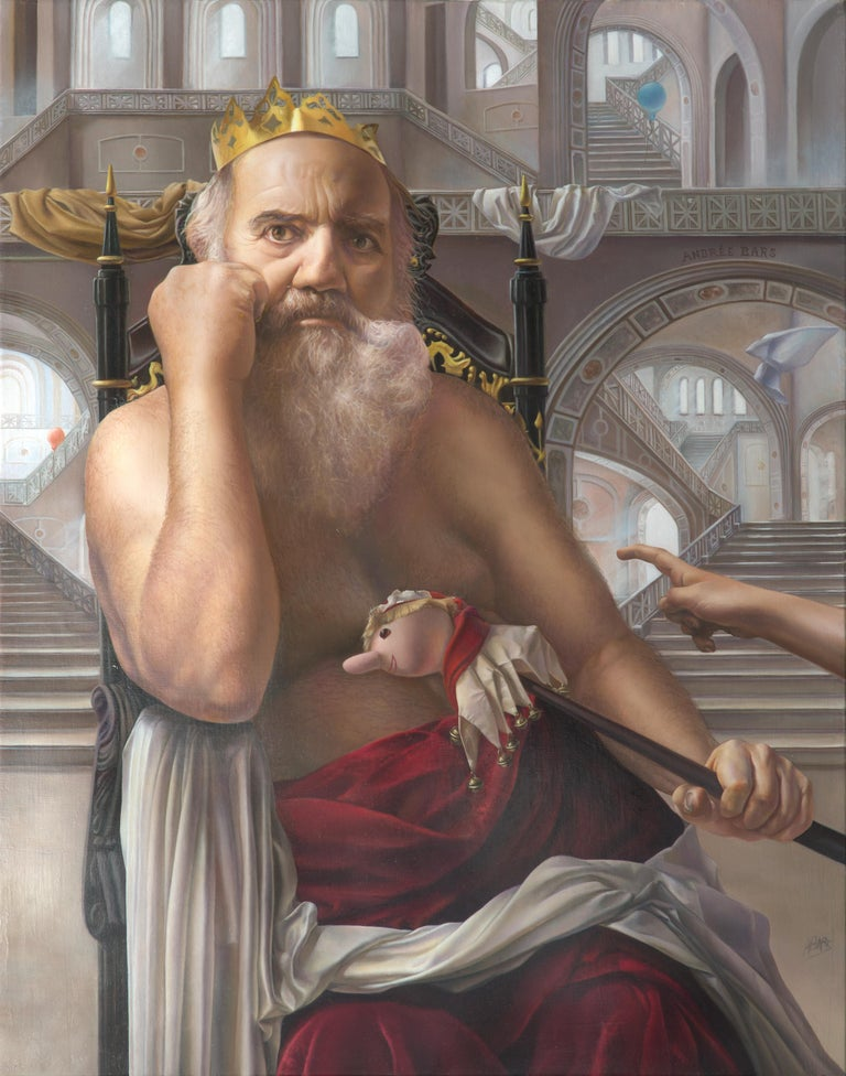 Andrée Bars Portrait Painting - The Mad King, White Bearded Crowned Man Sitting on a Throne Realist Oil Painting