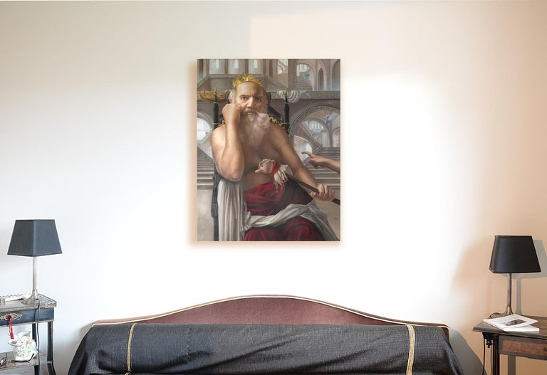 The Mad King, White Bearded Crowned Man Sitting on a Throne Realist Oil Painting - Gray Portrait Painting by Andrée Bars
