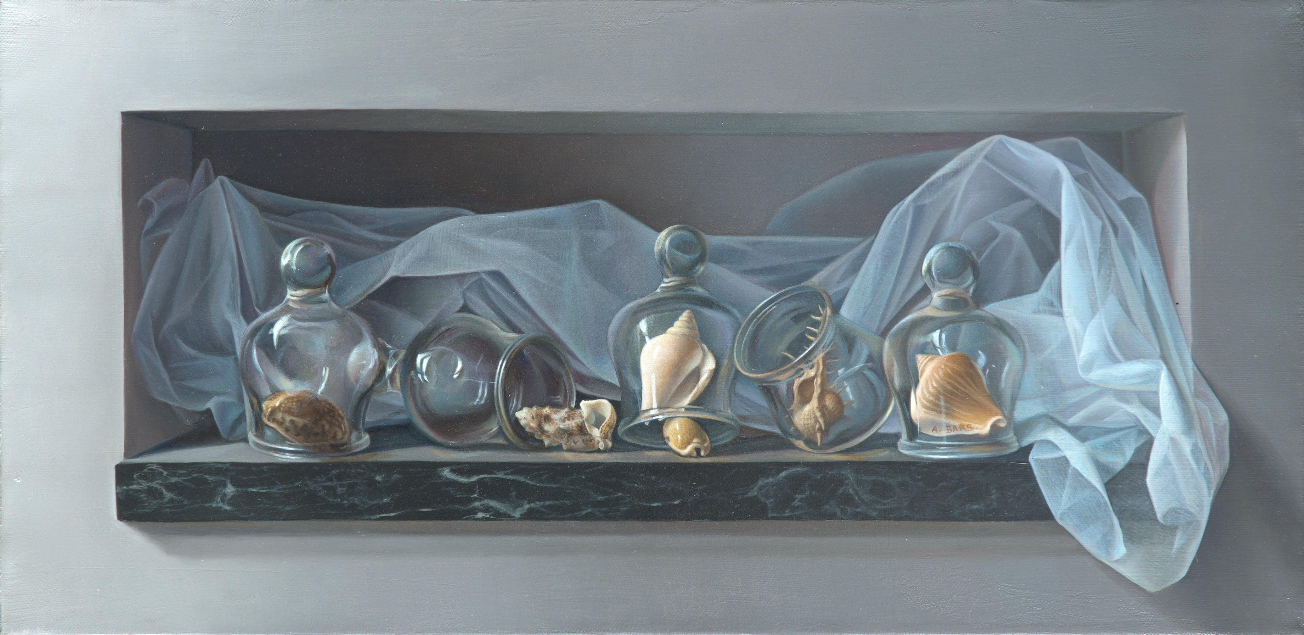 """""""Water Bubbles"""", Sea Shells under Blue Transparent Veil, Symbolist Oil Painting"""
