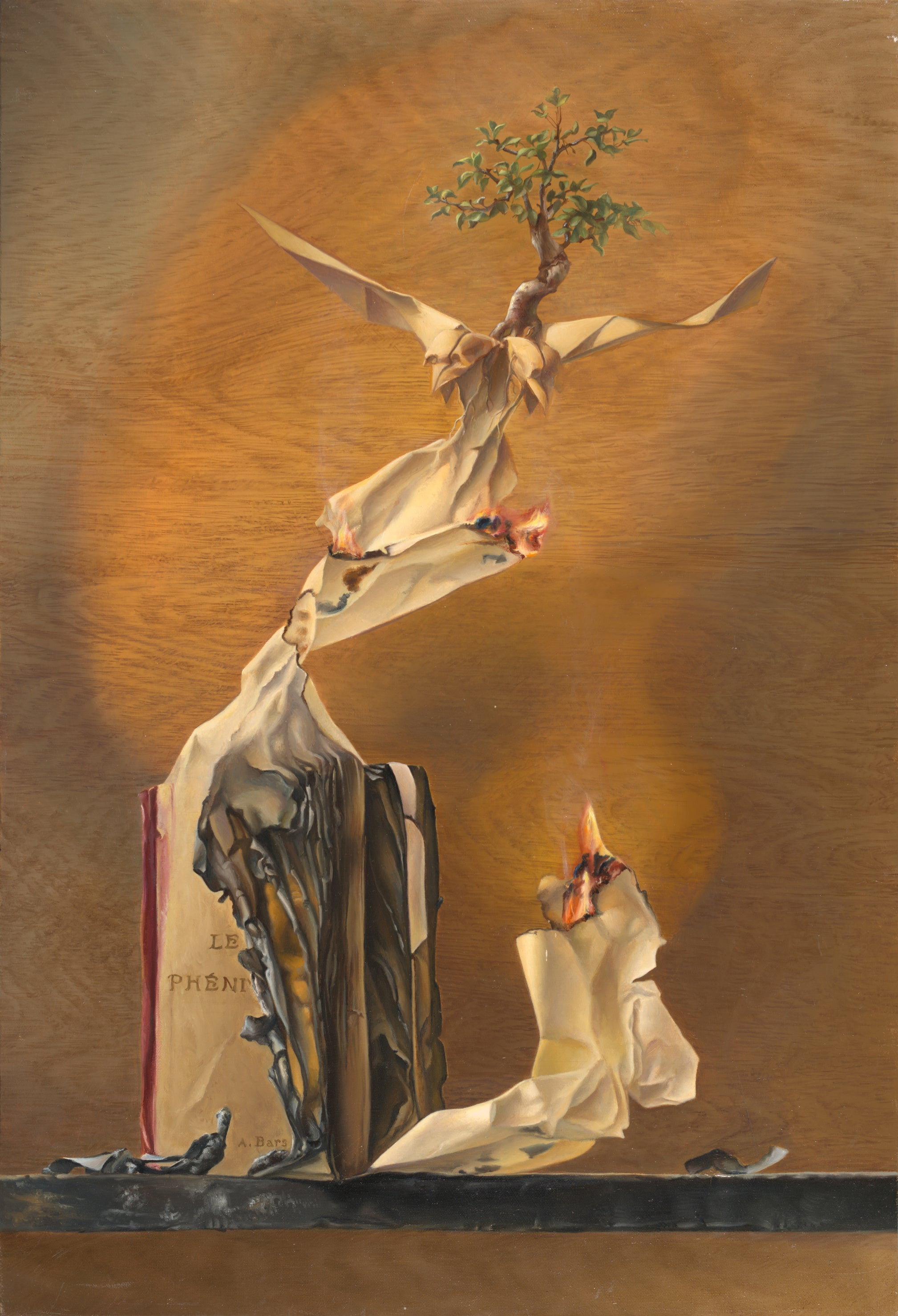 """""""The Phoenix"""", Burning Book Paper Eagle Symbolist Oil Painting"""