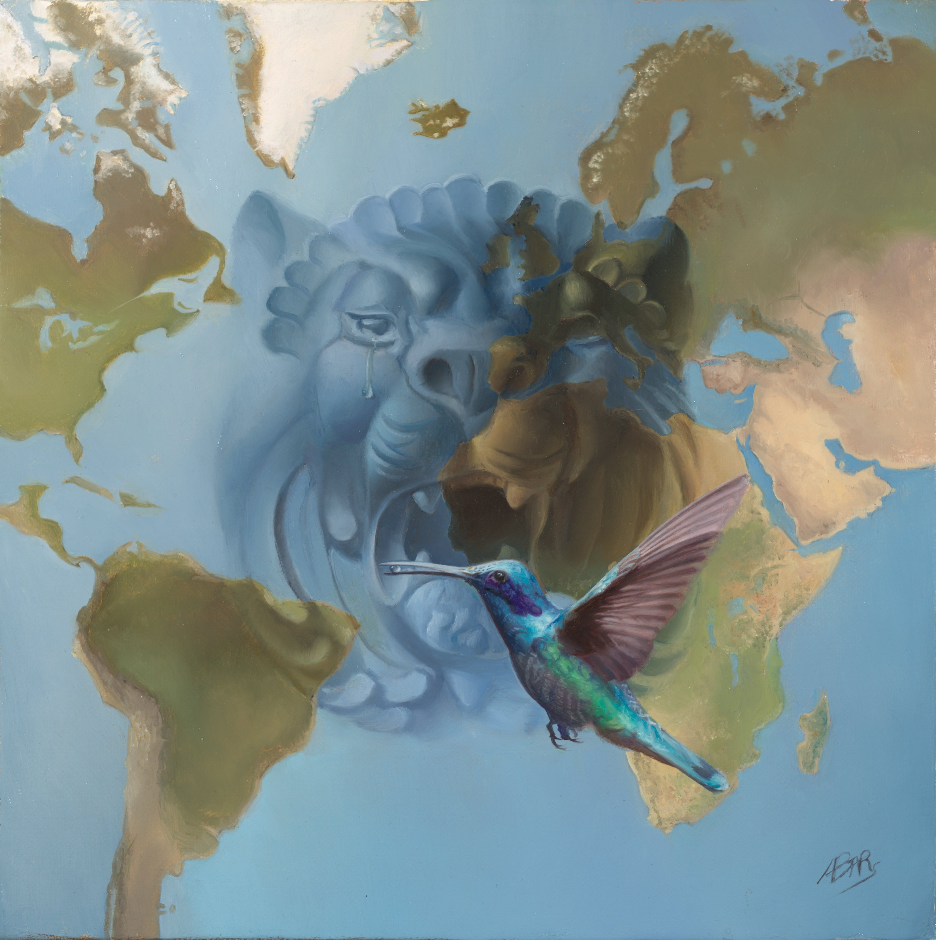 """""""The Lion Cries"""", Hyper-realist Symbolist Blue and Green Map Oil Painting"""
