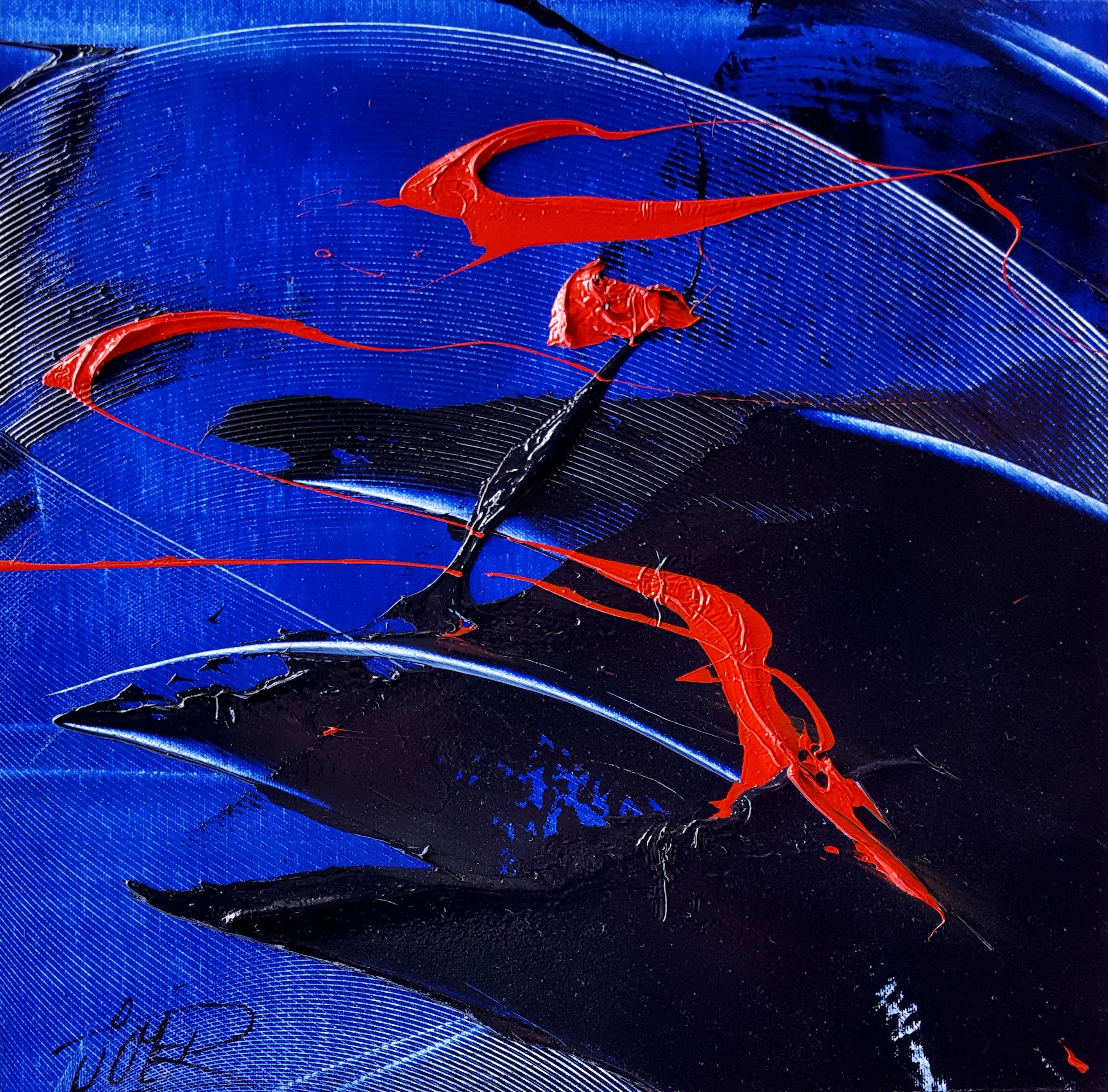 Small Red, Black and Blue Abstract Landscape Oil Painting