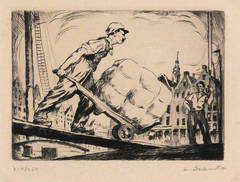 WPA Dockers Etching by Szanto, C. 1930