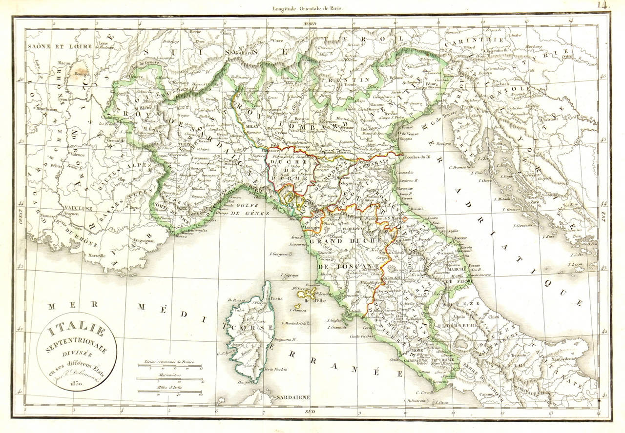 Unknown Vintage Map Of Northern Italy 1830 Print At 1stdibs