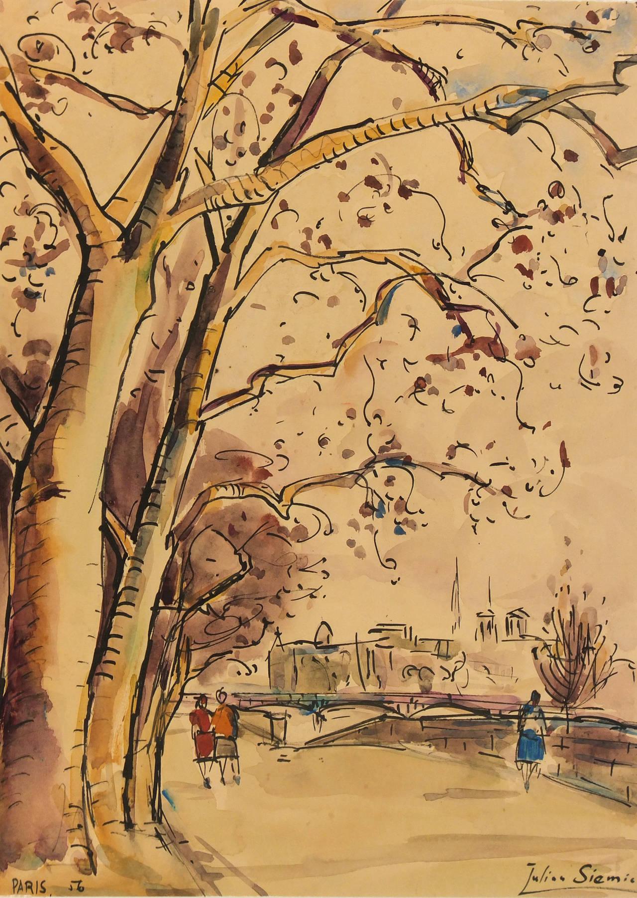 Watercolor artist magazine palm coast fl - Unknown French Watercolor Paris Landscape Painting 1