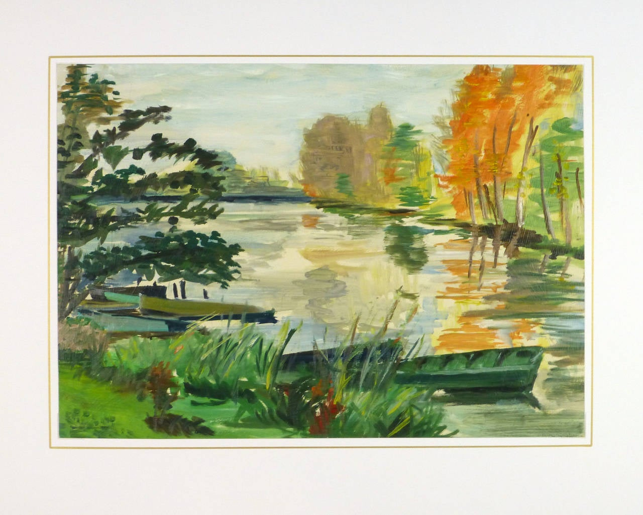 Unknown - French Landscape Painting of Lake For Sale at ...