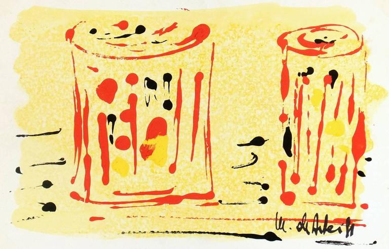 Abstract Monotype - Red Glasses