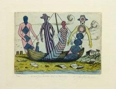 Vintage Aquatint Etching - The Strand