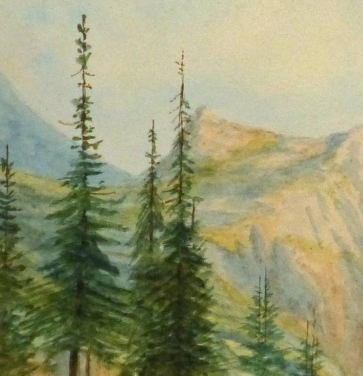 Antique French Watercolor- Alpine View - Art by Blanche Delastre
