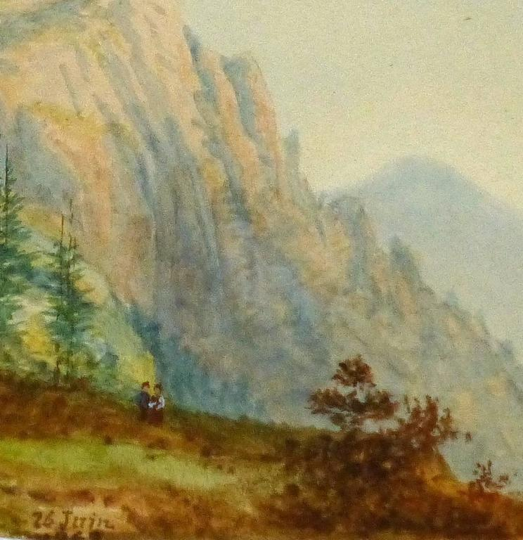 Antique French Watercolor- Alpine View - Beige Landscape Art by Blanche Delastre