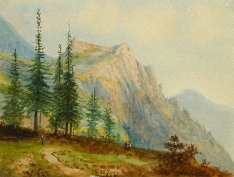 Blanche Delastre Landscape Art - Antique French Watercolor- Alpine View