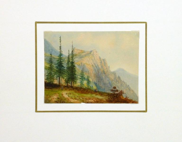Exquisitely detailed small watercolor of a path leading to a lookout over a gorgeous mountain view by French artist Blanche Delastre, 1865. Dated in lower center.  Original artwork on paper displayed on a white mat with a gold border. Mat fits a