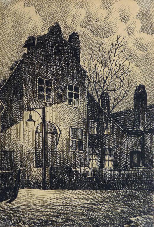 Johann Fucink Vintage Pen And Ink Drawing Evening