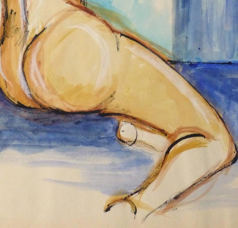 Vintage French Mid-Century - Blue Nude - Painting by Unknown