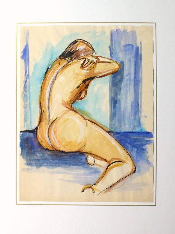 Delightful French gouache painting of a nude female figure from the back and surrounded by calming shades of blue, circa 1950.   Original artwork on paper displayed on a white mat with a gold border. Mat fits a standard-size frame. Archival
