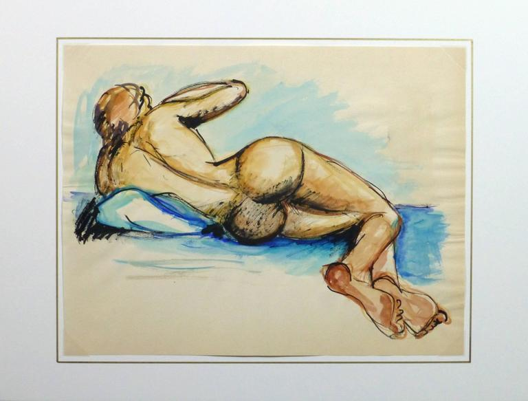 French gouache painting of a reclined nude female figure from the back and surrounded in soothing blue hues, circa 1950.  Original artwork on paper displayed on a white mat with a gold border. Mat fits a standard-size frame. Archival plastic