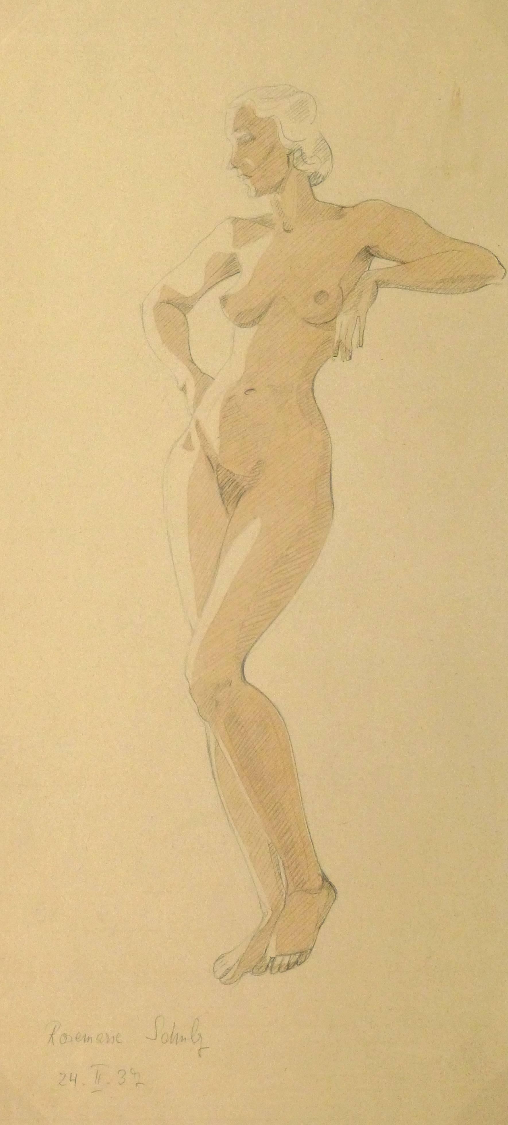 Vintage Pencil & Watercolor Sketch - Sultry Female Nude