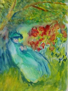 Vintage French Watercolor - Lady in Garden Tranquility