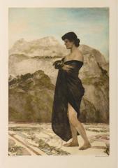 Antique German Aquatint Etching - Woman Draped in a Cloak, Jugendstil Movement