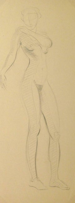 Vintage Pencil Drawing - Graceful Female Nude