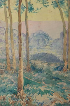 Antique Watercolor Landscape - Through the Tall Tress Mountains Appear