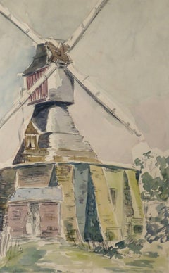 Vintage French Watercolor - Windmill