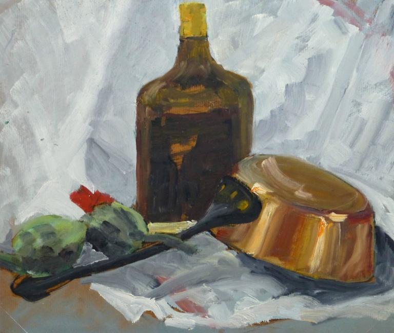Vintage Oil Still Life - Copper Pot & Artichokes