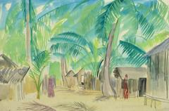 Vintage French Watercolor - Tropical Village