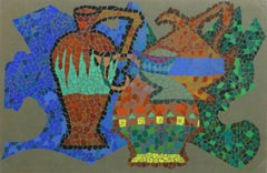 Multicolored Vintage French Painting - Ceramic Pitchers in Mosaic Style
