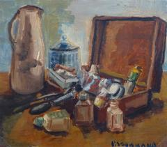 Vintage French Oil Still Life - The Painter's Box