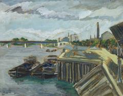 Vintage French Oil Landscape - The Dock