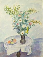 Vintage French Watercolor - Wildflower Bouquet